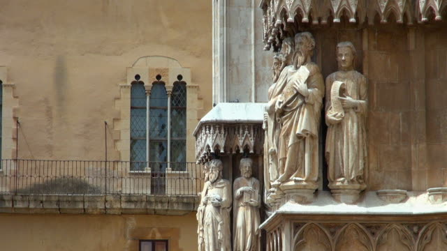 statues on the walls of the beautiful cathedral - gothic stock videos & royalty-free footage