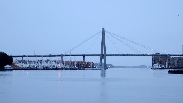 stavanger bridge in the morning, norway - stavanger stock videos & royalty-free footage