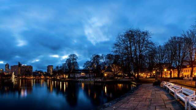 stavanger city along the water breiavatnet - stavanger stock videos & royalty-free footage