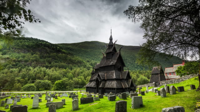 stave church in borgund, norway - time lapse - cemetery stock videos & royalty-free footage