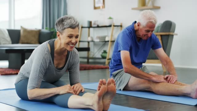 staying fit through the senior years - yoga stock videos & royalty-free footage