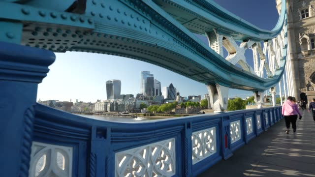 steadicam an almost empty tower bridge with the city of london in the background during the global outbreak of coronavirus covid19 pandemic the... - tower stock videos & royalty-free footage