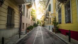 Steadicam: Idyllic narrow street in Plaka district Athens, Greece