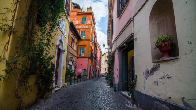 steadicam: old street in trastevere in rome, italy - no people stock videos & royalty-free footage