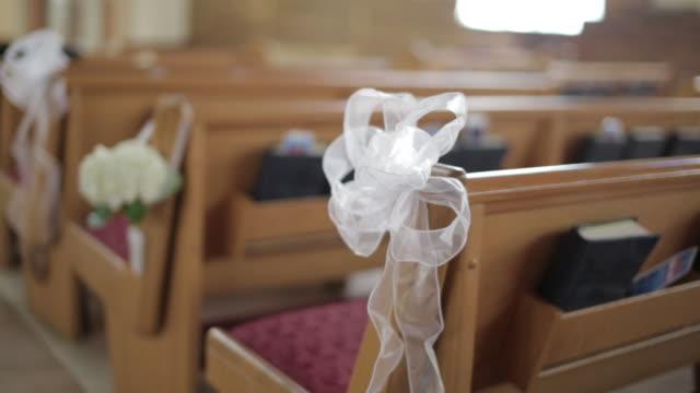 Steadicam shot, decorated church pews