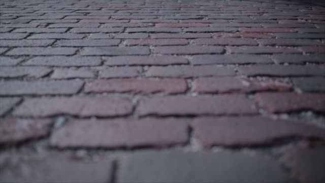 steadicam shot of bicycle moving on cobbled footpath - kopfsteinpflaster stock-videos und b-roll-filmmaterial