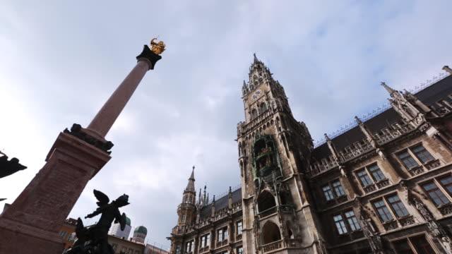 Steadicam tilt shot of 'New Town Hall' located in Marienplatz- the city centre of Munich.