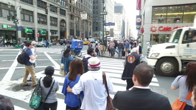 Steady Cam follow walking shot of crowds of people rossing street in New York Manhattan During Rush Hour
