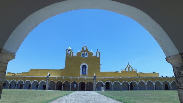 """Steady cam shot of Monastery of The Golden City"""" of Izamál, Mexico"""