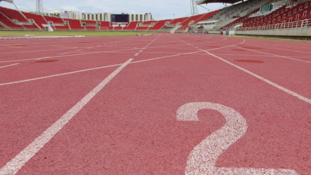 Steady cam shot of Number in running track