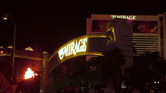 steady camera shot of the sunset strip las vegas nevada - the mirage las vegas stock videos & royalty-free footage