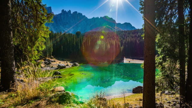 Steadycam: Beautiful Mountain Lake Lago di Carezza in Italy