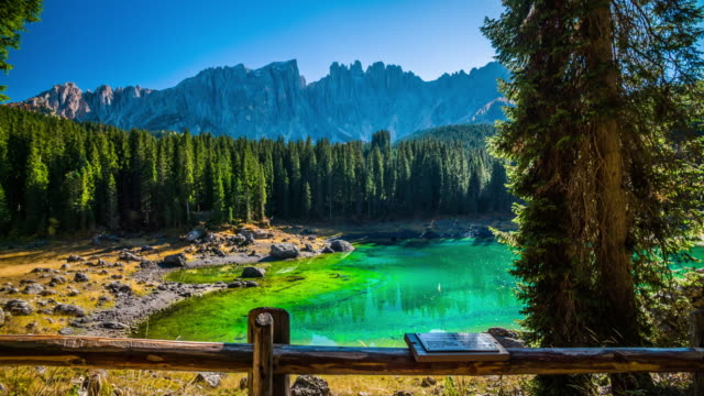 Steadycam: Lago di Carezza- Karersee in the Dolomites in South Tyrol, Italy.