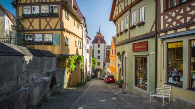 steadycam: medieval town rothenburg in germany. - old town stock videos & royalty-free footage