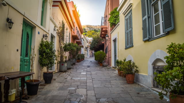 steadycam: old street in athens, greece - old town stock videos & royalty-free footage