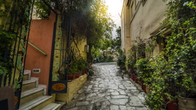 steadycam: plaka district in athens, greece - old town stock videos & royalty-free footage