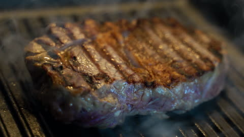 steak cooking on griddle pan, searing meat - still life stock videos & royalty-free footage