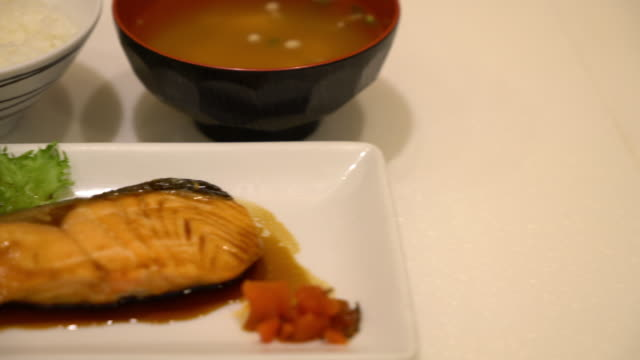 steak salmon set - japanese style