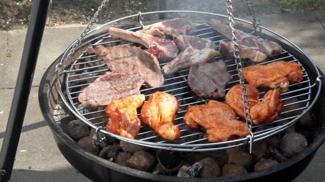 pollo e bistecche alla griglia - pollo alla brace video stock e b–roll