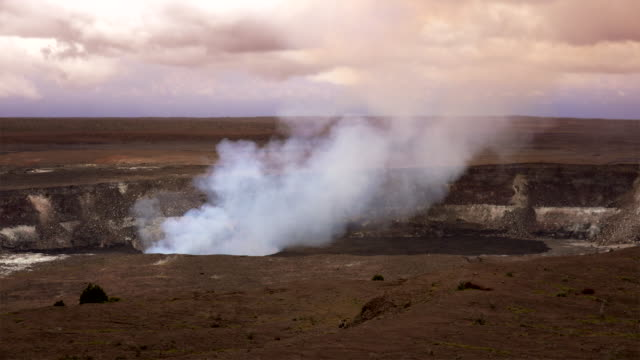 Steam and Smoke Rising From the Active Halemaumau Crater in Volcanoes National Park, Hawaii Big Island