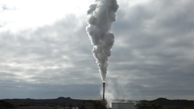 steam at a geothermal power station - geyser video stock e b–roll