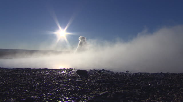 Steam billows in curious plumes from a geothermal field in Iceland.