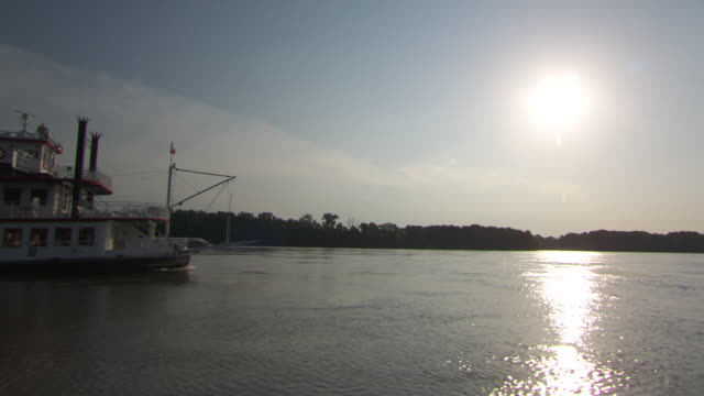 ws ts steam boat moving in hannibal mississippi river / hannibal, missouri, united states - mark twain stock videos & royalty-free footage