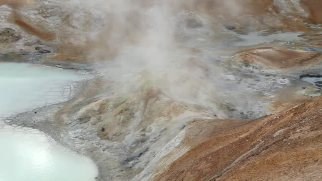 cu steam coming out of earth's crust, rock formations formed from geothermal activity at leirhnjukur / krafla, myvatn region, iceland - solid stock videos & royalty-free footage