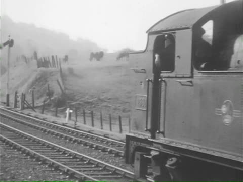 stockvideo's en b-roll-footage met ws ts steam engine moving slowly and freight train in misty / united kingdom - commercieel landvoertuig