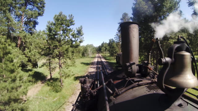stockvideo's en b-roll-footage met pov steam engine train traveling down the railroad track through a forested mountain range; smokestack and bell in foreground. - stoomtrein