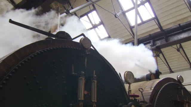 steam escaping furnaces at papplewick pumping station - 19th century style stock videos & royalty-free footage
