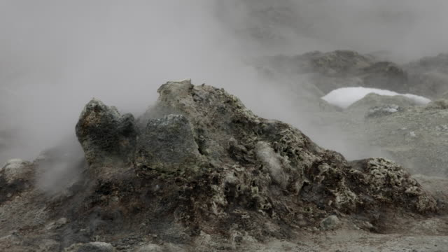 Steam flows from a geothermal vent.