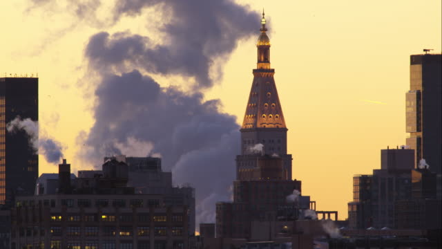 Steam From a Power Plant in the Manhattan Skyline