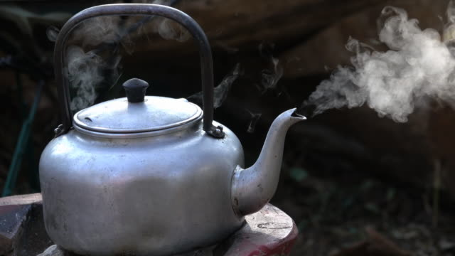 steam from boiling in kettle for hot coffee - kettle stock videos & royalty-free footage