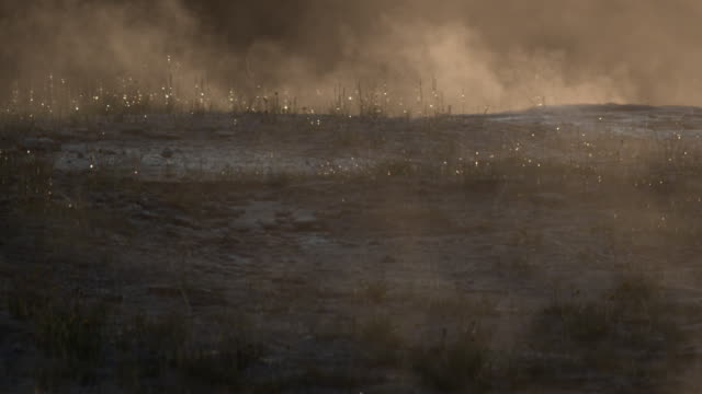 steam from geysers drifts over ground. - dampf stock-videos und b-roll-filmmaterial