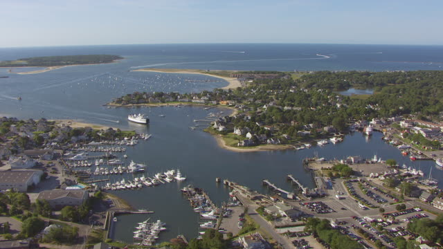 WS AERILA POV Steam Liner in sea with harbour and parking lot / Hyannis, Massachusetts, United States