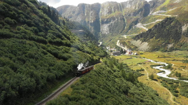 steam locomotive from gletsch at furka pass - steam train stock videos & royalty-free footage