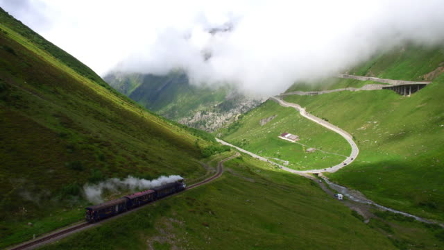 steam locomotive from gletsch at furka pass - train vehicle stock videos & royalty-free footage