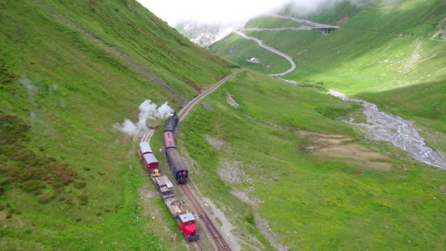 Steam locomotive from Gletsch at Furka Pass