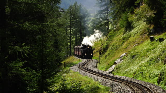 steam locomotive from realp to furka pass - railway track stock videos & royalty-free footage