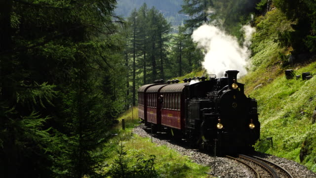 steam locomotive from realp to furka pass - rail transportation stock videos & royalty-free footage