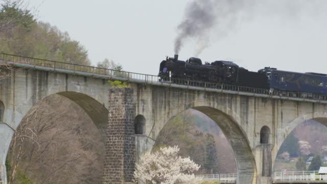 steam locomotive ginga travelling over megane bridge in iwate, japan - arch bridge stock videos & royalty-free footage