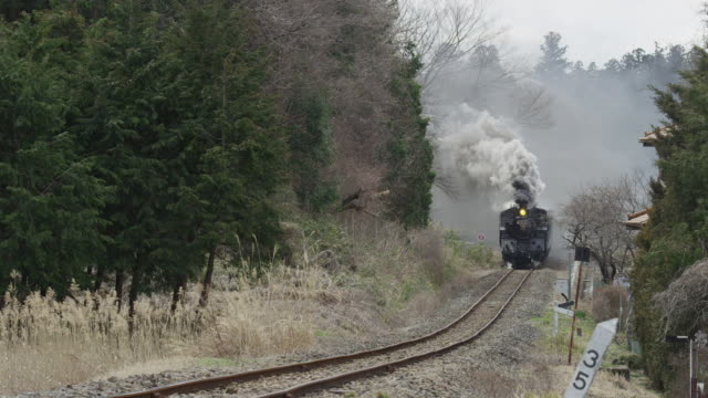 Steam locomotive travelling with black smoke in Japan