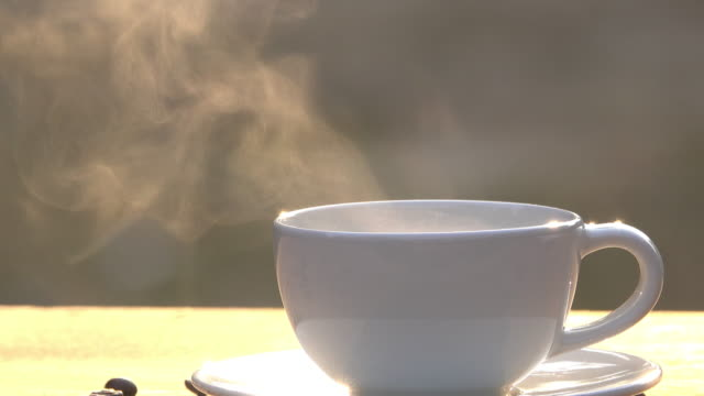 steam of coffee cup in the morning - roasted coffee bean stock videos & royalty-free footage