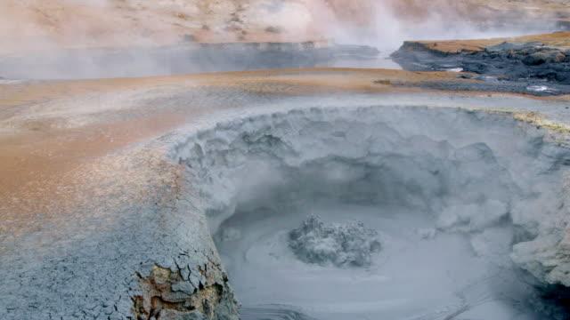 steam over flat volcanic landscape - island stock-videos und b-roll-filmmaterial