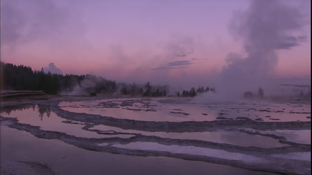 Steam rises from a hot spring under a pale purple sky.