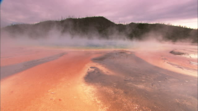 steam rises from a thermal pool. - thermal pool stock videos & royalty-free footage