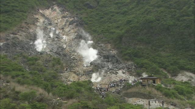 Steam rises from geothermal activity in Owaku-dani Valley in Kanagawa, Japan.