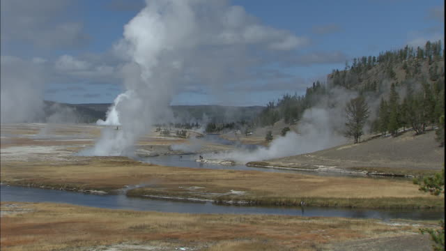 steam rises from geysers in yellowstone national park. - idaho stock videos & royalty-free footage