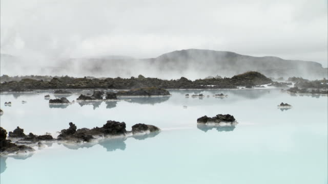 Steam rises from the Blue Lagoon in Grindavik, Iceland. Available in HD